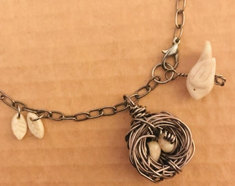 Grandmother Bird Nest Necklace (with feathers)