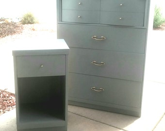 Gray Mid Century Modern Wood Highboy Four Drawers  Dresser and Nightstand  Vintage Bedroom Set