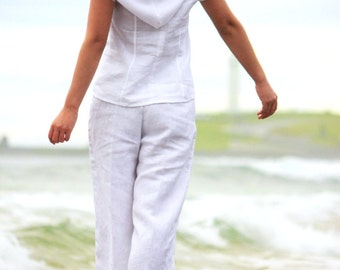 White Linen top,Hooded top,Linen blouse,White blouse,70s blouse,Bohemian top,Black,Women Linen clothing,Short sleeve top,Women white top