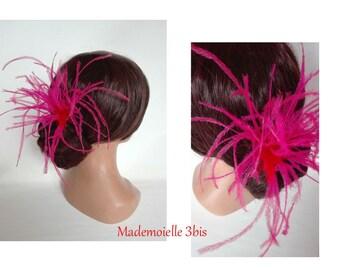 bun feather pink ostrich, Federschmuck Bun hair clip feather hair fascinator