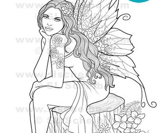 Digistamp flowers dahlias coloring page flower adult