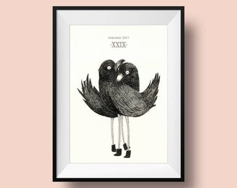 Inktober n19 Hugging Birds print