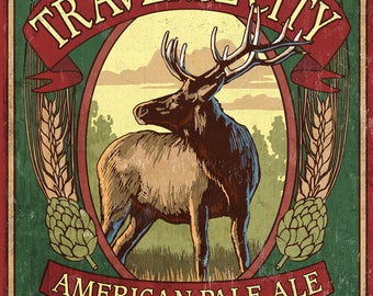 Traverse City, Michigan - Elk Head Pale Ale Vintage Sign - Lantern Press Artwork (Art Print - Multiple Sizes Available)