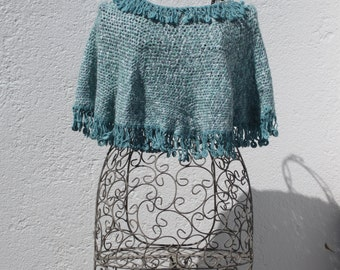 crochetted cotton blue green mini poncho