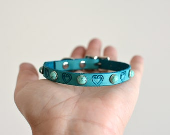 The HEART  3/8'' Cat Collar, Small Dog Collar,Heart Dog Collar, Pet Collar, stone pet collar, Custom Dog  Collar, leather collar