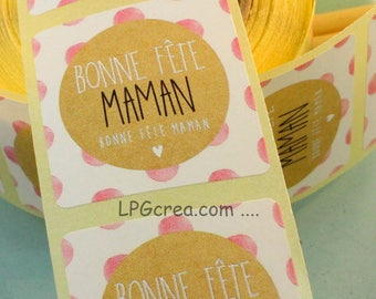 """20 labels gift stickers - """"Happy mother's day"""" # EMB50"""
