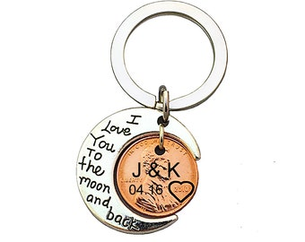 I Love You To The Moon And Back Keychain with Stamped penny - husband, wife - Boyfriend, girlfriend - Anniversary gift, Couples Gifts