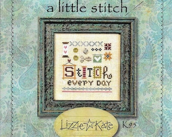 Lizzie Kate A Little Stitch K95 Counted Cross Stitch Chart with Linen and Charm