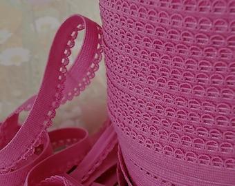5yds Stretch Trim Picot Skinny Elastic Rick Rack 3/8 inch Mauve Pink Sewing Trim Single sided Edging Headband Lingerie Elastic