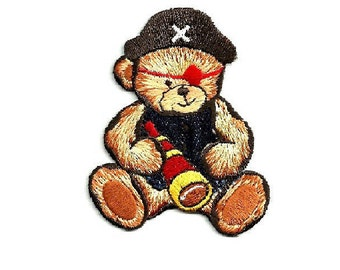 Pirate - Bear - Teddy Bear - Boy - Embroidered Iron On Patch