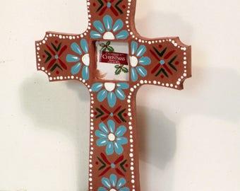 Painted wooden standing cross
