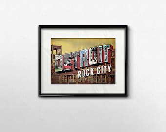 Detroit Rock City Art Print, 5x7 Typography Wall Art, 5 x 7 Print Rock and Roll Decor, College Dorm Decoration, KISS band Retro Art