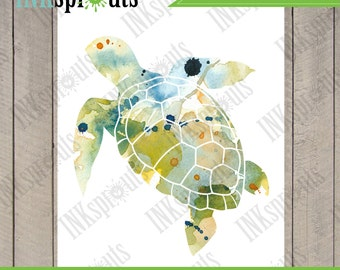 INSTANT DOWNLOAD - Watercolor Sea Turtle Print, Watercolor silhouettes, Sea Life, Beach theme, Nursery Print, Under the Sea, Item  WC008B