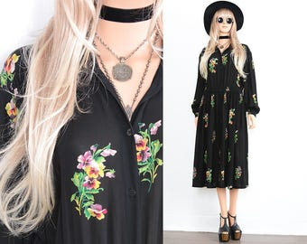90s Black Floral Dress 90s Grunge Dress 40s Floral Maxi Dress Boho Dress Floral Dress Vintage 90s Clothing Floral Maxi Bohemian Dress M