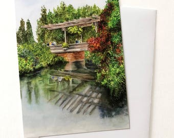 GREETING CARD! Chicago Botanic Gardens People walking on bridge over water Flower garden painting, Note Card with Envelope