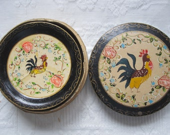 8 Vintage Toleware Rooster Coaster Hand Painted with Original Box