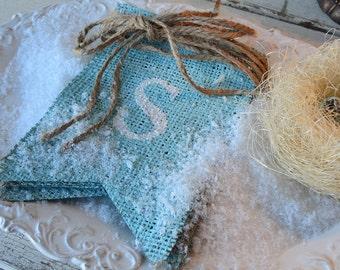 SPRING Glittered Burlap banner Bunting Pennant....MEDIUM