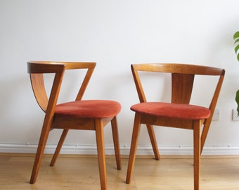 RESERVED FOR TOM  Mid century 50's 60's curved back bentwood Danish dining chairs