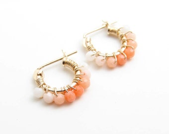 Tiny Multi Color Coral Hoop Earrings. 14K GF Hoop Earrings. Wire Wrapped Tiny Coral Earrings. Simple Modern Jewelry by PetitBlue