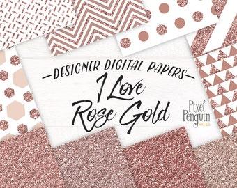 Rose Gold Digital Paper, Rose Gold Glitter Digital Paper, Rosegold Digital Paper, Rose Gold Metallic Digital Paper, Rose Gold Glitter Paper