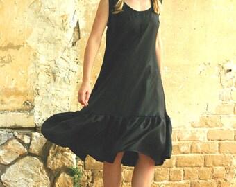 Black midi dress, pure silk evening dress, silk prom dress, bridesmaid dress - sexy black dress