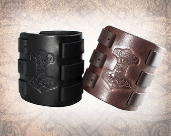 Mjölnir Leather Cuff, Leather Wristband, Leather Bracelet, Black Leather Cuff, Norse Cuff, Thor's Hammer - Custom to You (1 cuff only)