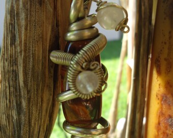 Tiger's Eye and Rose Quartz Pendant with Chain
