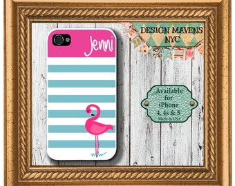Personalized iPhone Case, Preppy Flamingo Stripe Monogram iPhone Case, iPhone 4, iPhone 4, iPhone 5,  iPhone 5s, iPhone 5c, iPhone 6
