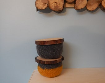 Lidded Wool Bowls - Set of 2:  gold and grey