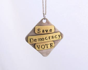 Save Democracy Vote Necklace-Silver (Color) and Brass