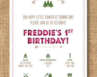 Girls Camp Themed Birthday Invitation - Printable