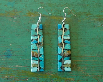 """Native American turquoise mosaic inlay on Jet from Santo Domingo Pueblo New Mexico contemporary Indian jewelry boho drop 3"""""""