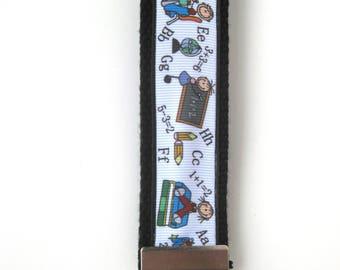 Teacher Gift Under 10- Wristlet Key Fob- Math Teacher KEY FOB- Wrist Keychain- Teacher Key Chain- Key Lanyard- Gift for Her- Gift for Him
