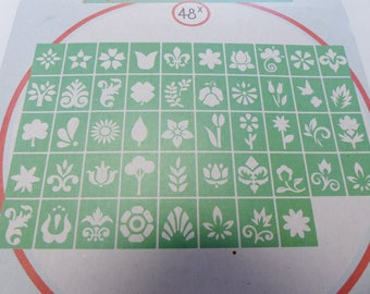 48 different leaves flower stencils
