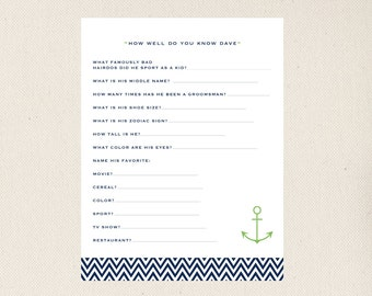 Bridal Shower Game, How Well do you know the Groom, Printable