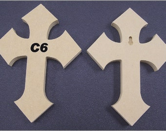 6 x 9 x 1/2 Inch Wooden Cross made from MDF, Choose from 8 different styles of Crosses. FREE SHIPPING 9-14