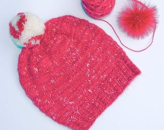 Alpaca Merino Knitted Hat, Fuchsia Knit Hat, Wool Hat, Slouchy Beanie, Slouchy Hat, Slouchy Alpaca Hat, Pompom Hat