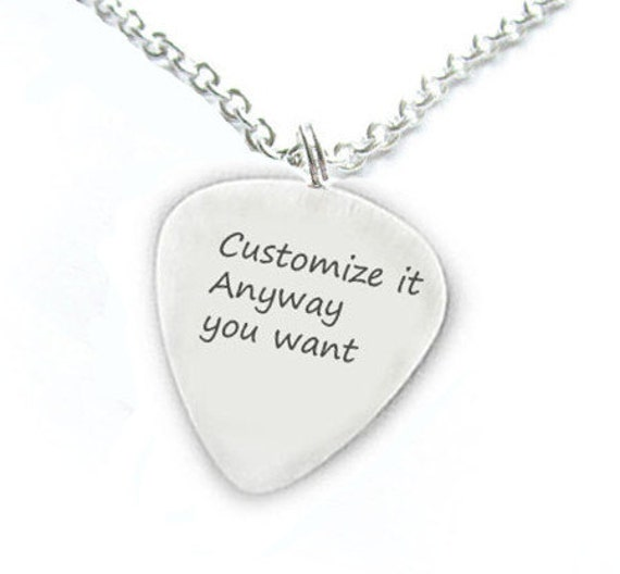 Artculos similares a customize guitar pick necklace personalized artculos similares a customize guitar pick necklace personalized anyway you want hand stamped pendant music gift birthday sterling silver brass copper aloadofball Image collections