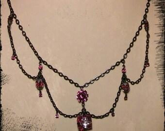 Fushia Swarovski Crystal Gothic Necklace