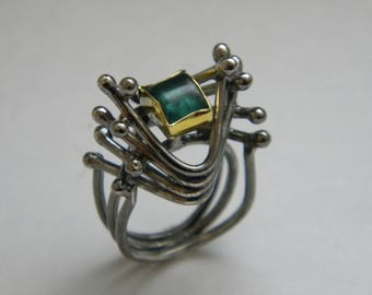 handcrafted#contemporary#silver#gold K18#ring#green tourmaline