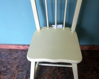 Small Desk Chair or Child's Desk Chair. Solid Pine refinished in a new flat Yellow.