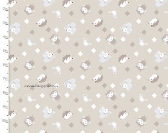 Woodland Animal Fabric, Hedgehog, Owl Squirrel Quilt Fabric, 3 Wishes Little Forest 12945 Taupe, Woodland Baby Fabric, Cotton
