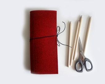 Felt pencil case, two compartements, red grey felt pen case