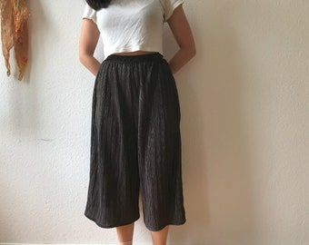Black Gold Metallic Crimped Culottes | Skort | Limited Stock | Made to Order | Handmade | With Pockets | Slow Fashion