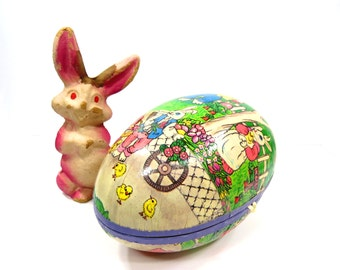 Paper Mache Bunny Rabbit PLUS Easter Egg Candy Holder, Vintage Spring Home Decor