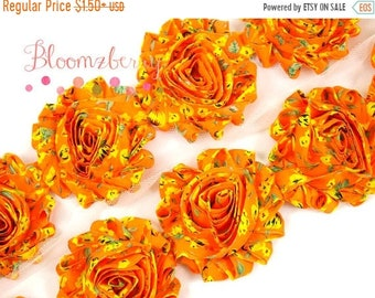 "Clearance 50% OFF 2.5"" PRINTED Shabby Rose Trim-  Orange Floral Vintage - Vintage Chiffon Trim - Orange Flowers Trim - Summer/Fall-Hair Acce"