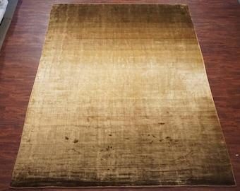 10X13 Art Silk Contemporary Modern Hand-Made Oriental Area Rug Carpet (9.10 x 12.11) Brown / Gold Gradient Ombré Carpet