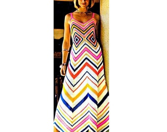 Vintage Crochet Pattern    1970s Chevron and Granny Square Maxi Sun Evening Dress  Retro Plus Free Pattern INSTANT DOWNLOAD PDF