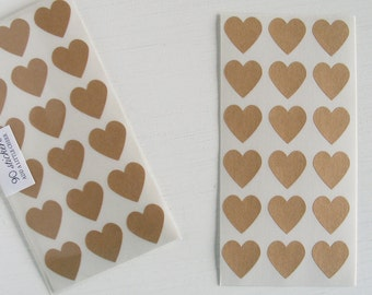 kraft mini heart stickers