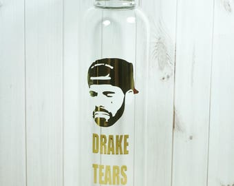 Glass water bottle for Drake Tears | White and Gold